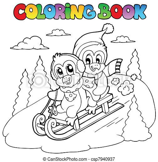 Coloring book penguins sledging - csp7940937
