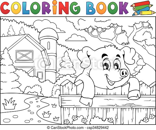 Coloring book pig behind fence near farm - csp34829442