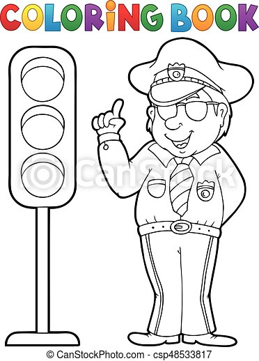 Coloring book policeman with semaphore - csp48533817