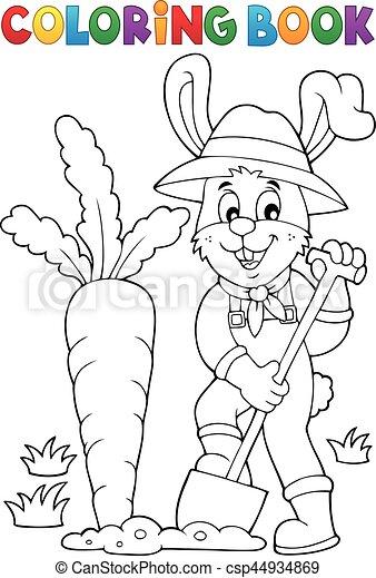 Coloring book rabbit gardener theme 1 - csp44934869