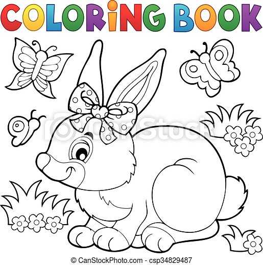 Coloring book rabbit topic 3 - csp34829487