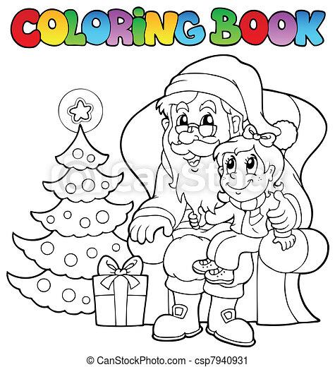 coloring book santa claus theme 6 csp7940931 - Coloring Pictures Of Santa Claus