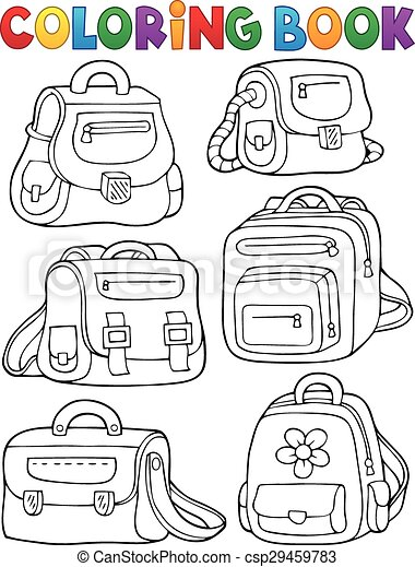 Coloring book school bags theme 1 eps10 vector illustration