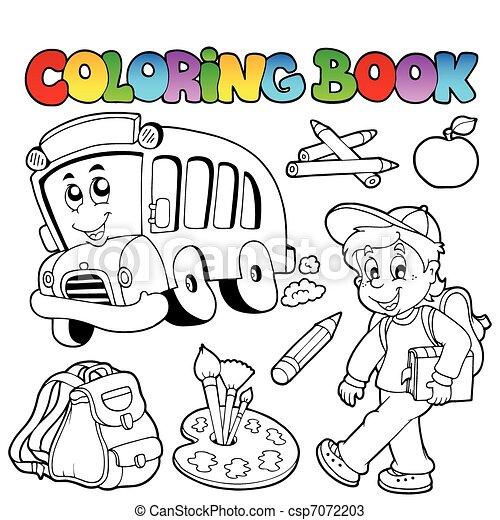 Coloring book school cartoons 2 - vector illustration. vectors ...