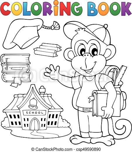 Coloring book school monkey theme 1 - csp49590890