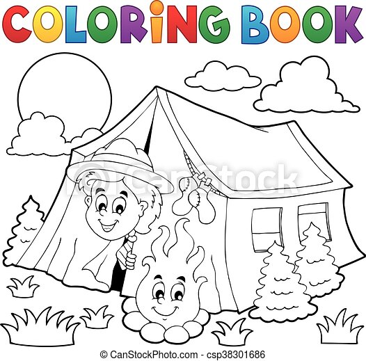 coloring book scout cing in tent eps10 vector