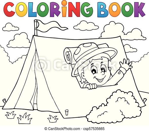 Coloring book scout in tent theme 1 - csp57535665