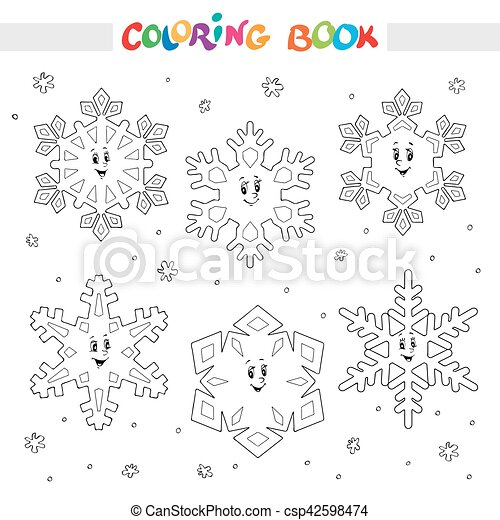 Coloring book. set of cartoon snowflakes for kids. Coloring book or ...