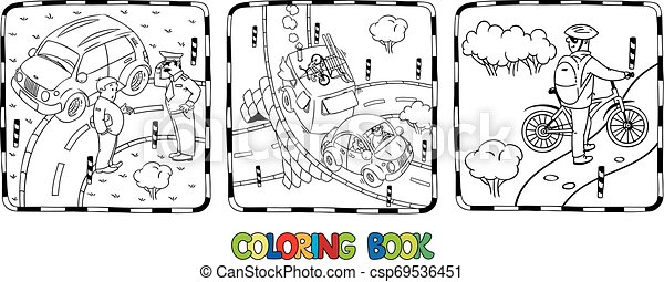 Coloring Book Set Of Roads With Cars Coloring Book Set Roads Crossings Cars And People Small Car With Trailer On The