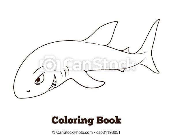 Coloring book shark cartoon educational vector illustration.