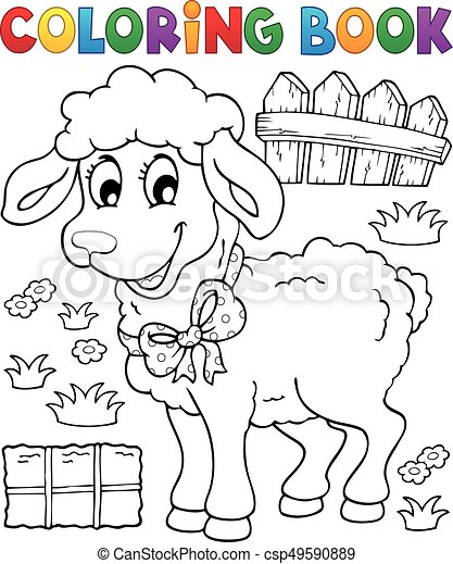 Coloring book sheep theme 3 - csp49590889