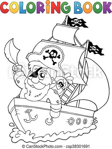 Coloring book ship - csp38301691