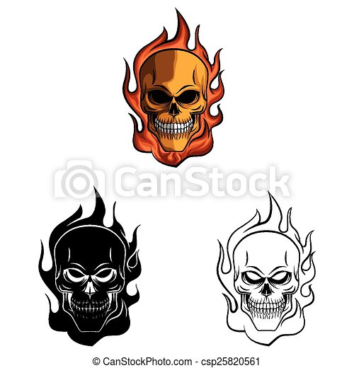 Coloring Book Skull Fire Caracter