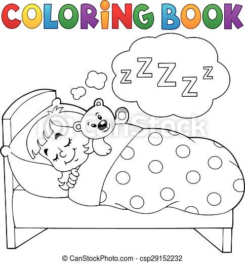 coloring book sleeping child theme 1 csp29152232
