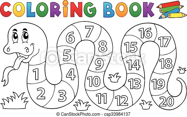 Coloring book snake with numbers theme - csp33984137