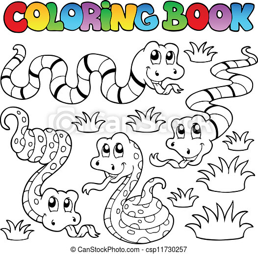 Coloring book snakes theme 1 - csp11730257