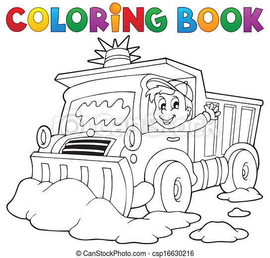 Coloring book snow plough - csp16630216