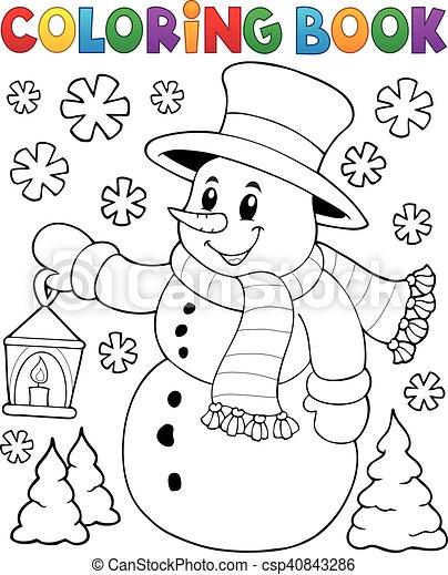 Coloring book snowman topic 2 - csp40843286