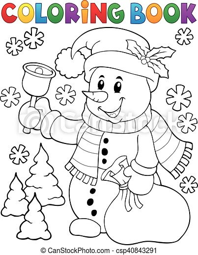 Coloring book snowman topic 3 - csp40843291