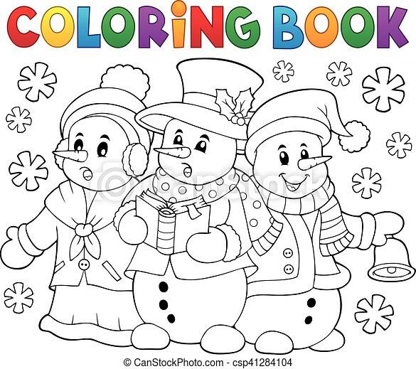 Coloring book snowmen carol singers - csp41284104