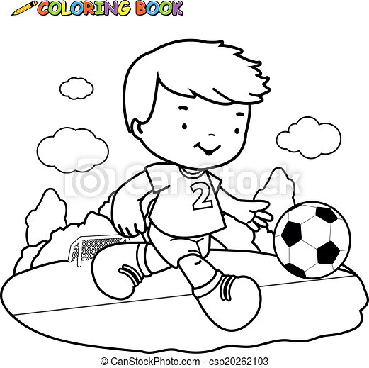 Coloring book soccer kid. A black and white outline image of a boy ...