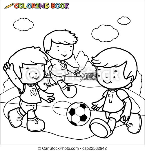 Coloring book soccer kids. . A black and white outline image of ...