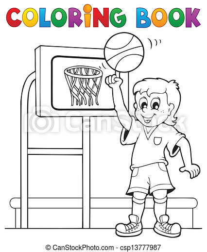Coloring book sport and gym theme 3 - csp13777987