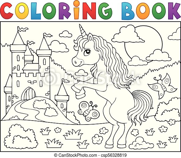 Coloring book standing unicorn theme 2 - csp56328819