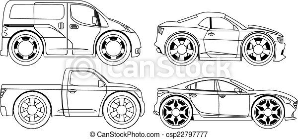 Coloring book: stylized cars set - csp22797777