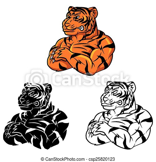 Coloring Book Tiger Strong Caracter