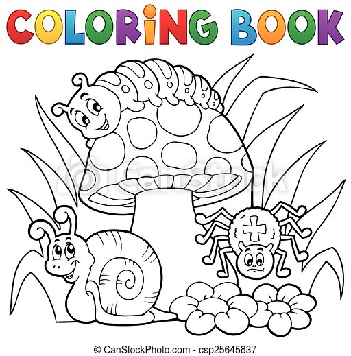 Coloring book toadstool with animals - csp25645837