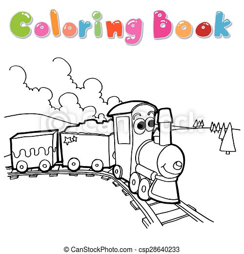 Coloring Book Train Vector