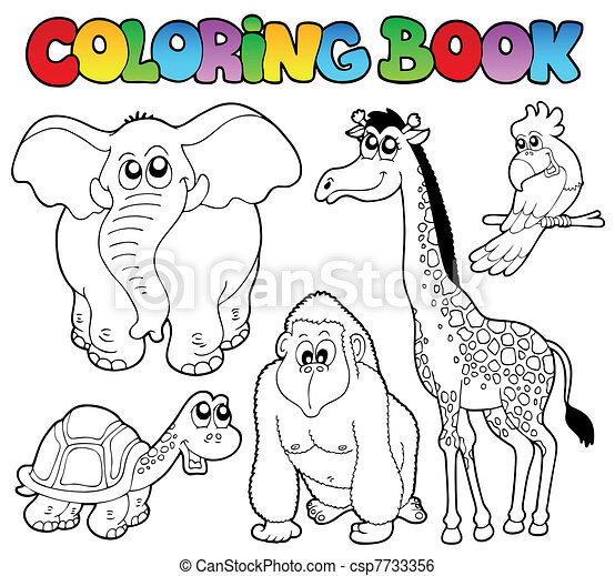 Coloring book tropical animals 2 - csp7733356