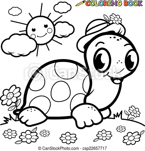 Coloring book turtle in grass csp22657717