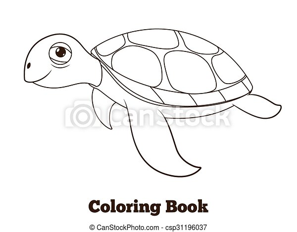 Coloring book turtle sea animal illustration. Coloring book ...