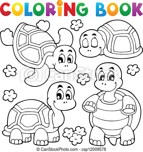 Coloring book turtle theme 1 - csp12009578