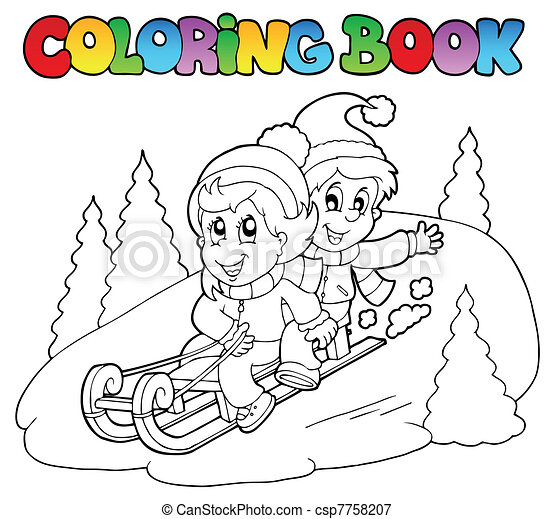 Coloring book two kids on sledge - csp7758207