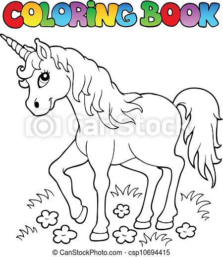 Coloring book unicorn theme 1 - csp10694415