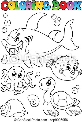 Coloring book various sea animals 1 - csp9005956