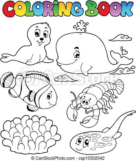 Coloring book various sea animals 3 - csp10302042