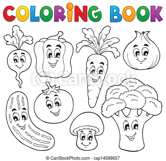 Coloring book vegetable theme 1 eps10 vector illustration clipart vector search illustration drawings and eps graphics images csp14599657