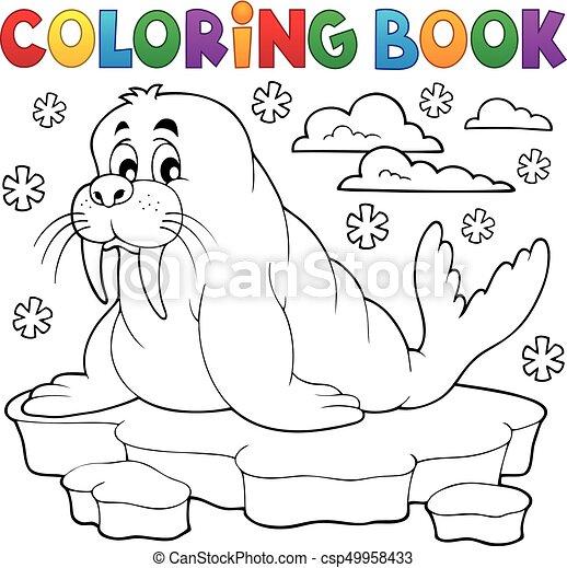 Coloring book walrus theme 1 - csp49958433