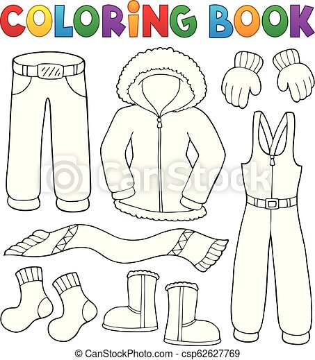 Coloring Book Winter Clothes Topic Set 1 Eps10 Vector Illustration Canstock