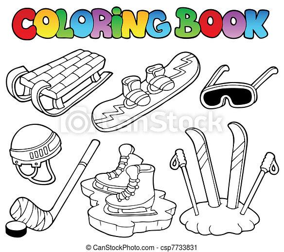 Coloring book winter sports gear csp7733831