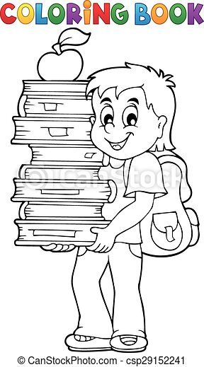 Coloring book with boy holding books - eps10 vector illustration.
