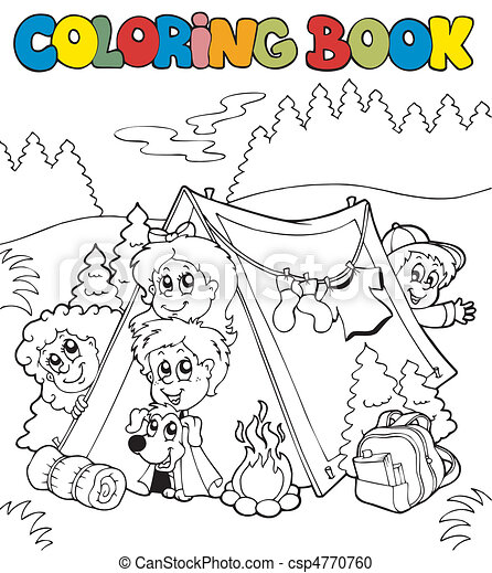 Coloring book with camping kids - vector illustration.