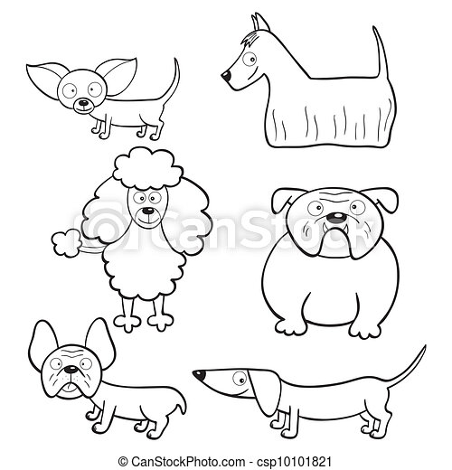 Coloring Book With Cartoon Dogs