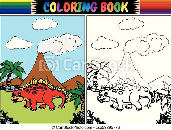 Coloring book with cartoon stegosaurus - csp59295776