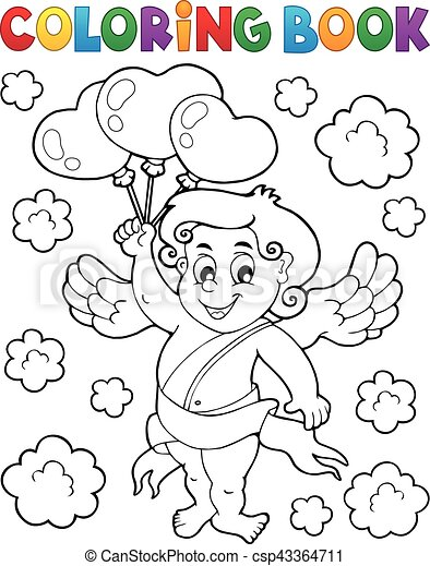 Coloring book with Cupid - csp43364711