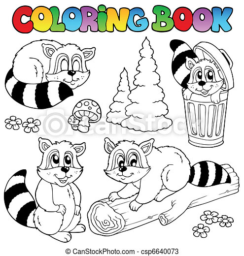 Coloring book with cute raccoons - csp6640073